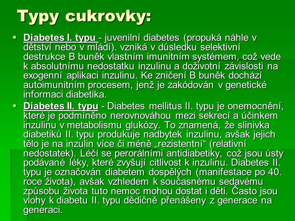 Typy cukrovky: