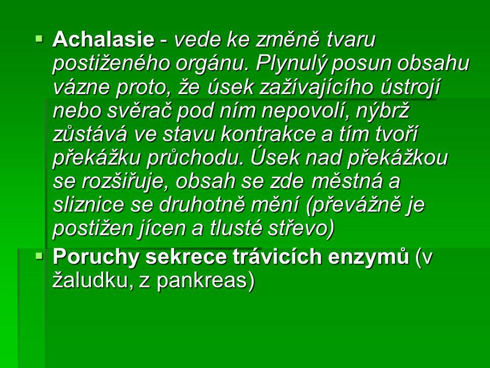 Achalasie - vede ke změně tvaru postiženého orgánu