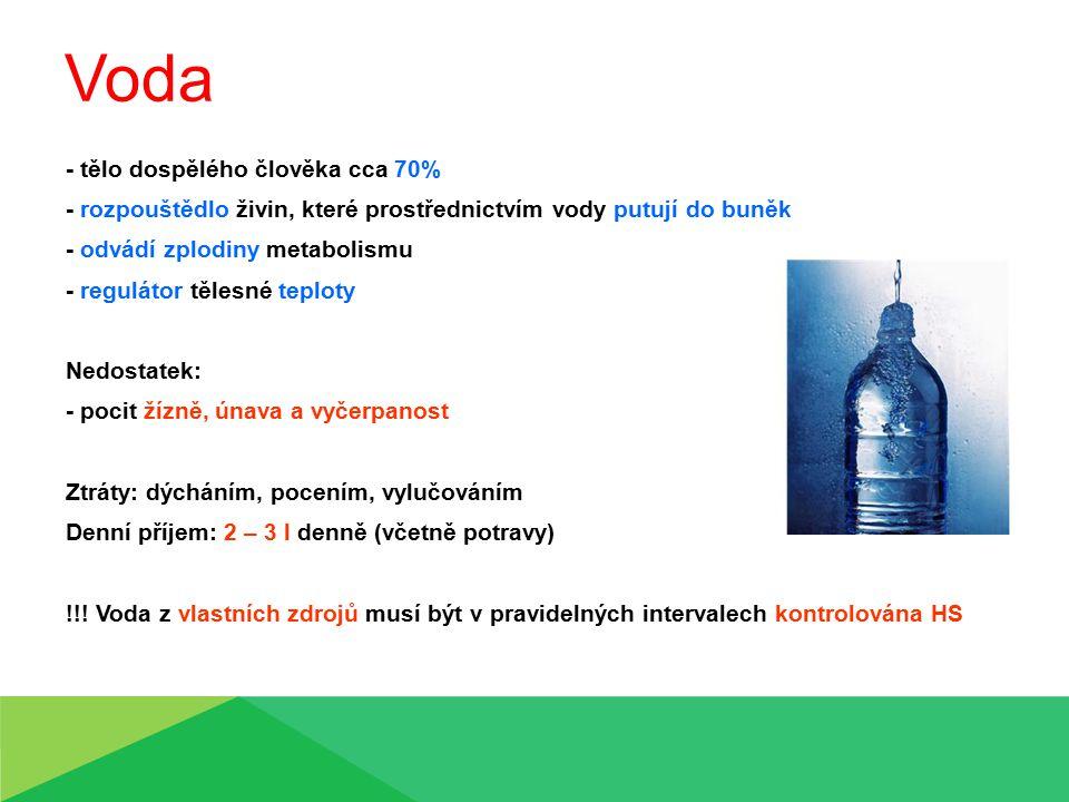 Voda - tělo dospělého člověka cca 70%