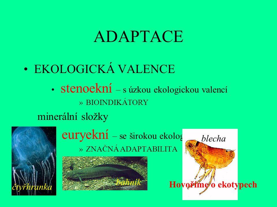 ADAPTACE euryekní – se širokou ekologickou valencí EKOLOGICKÁ VALENCE