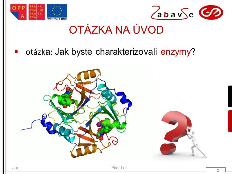 OTÁZKA NA ÚVOD otázka: Jak byste charakterizovali enzymy Příroda II