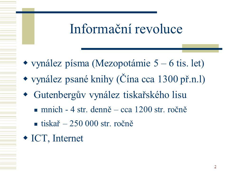 Informační revoluce vynález písma (Mezopotámie 5 – 6 tis. let)