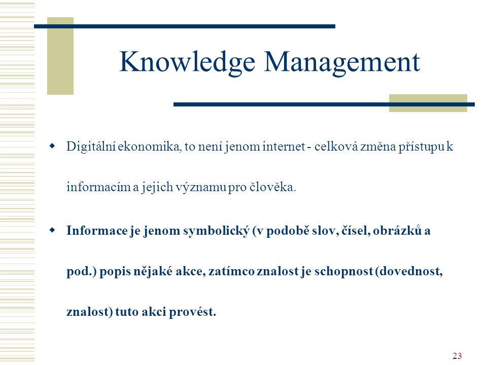 Knowledge Management Digitální ekonomika, to není jenom internet - celková změna přístupu k informacím a jejich významu pro člověka.