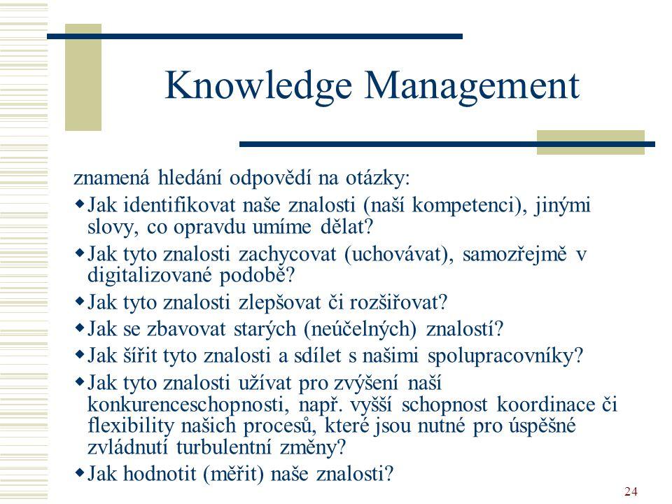 Knowledge Management znamená hledání odpovědí na otázky: