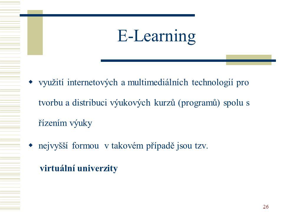 E-Learning využití internetových a multimediálních technologií pro tvorbu a distribuci výukových kurzů (programů) spolu s řízením výuky.
