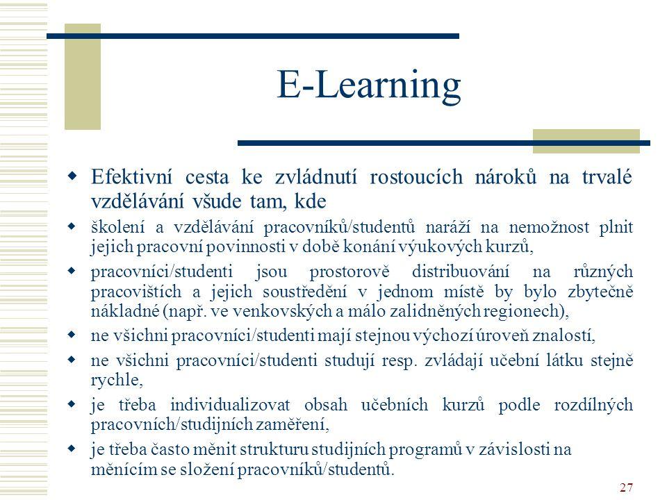 E-Learning Efektivní cesta ke zvládnutí rostoucích nároků na trvalé vzdělávání všude tam, kde.