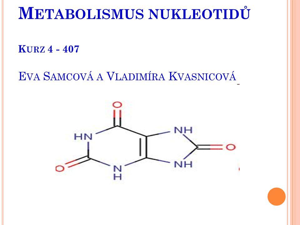 Metabolismus nukleotidů Kurz 4 - 407 Eva Samcová a Vladimíra Kvasnicová