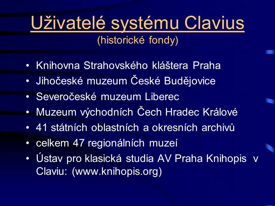 Uživatelé systému Clavius (historické fondy)
