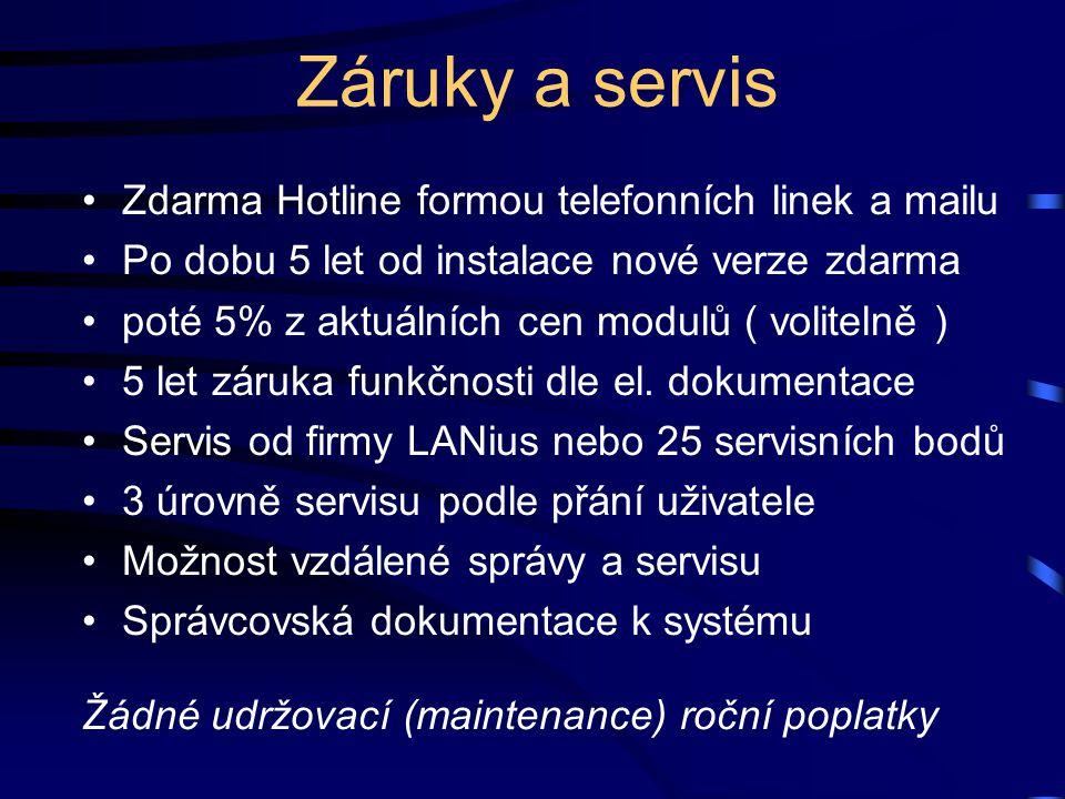 Záruky a servis Zdarma Hotline formou telefonních linek a mailu