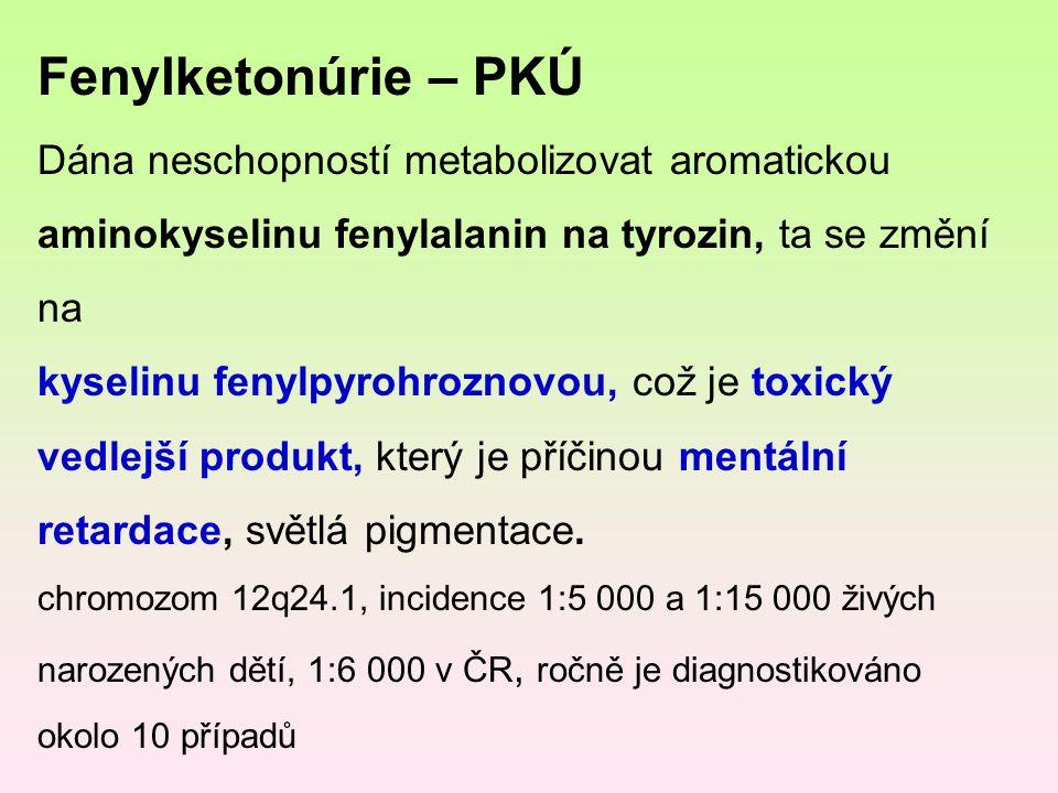Fenylketonúrie – PKÚ Dána neschopností metabolizovat aromatickou aminokyselinu fenylalanin na tyrozin, ta se změní na.