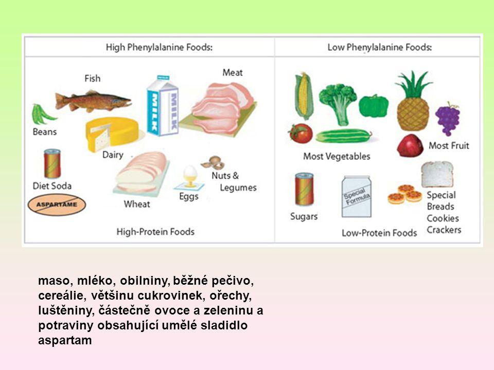 maso, mléko, obilniny, běžné pečivo, cereálie, většinu cukrovinek, ořechy, luštěniny, částečně ovoce a zeleninu a potraviny obsahující umělé sladidlo aspartam