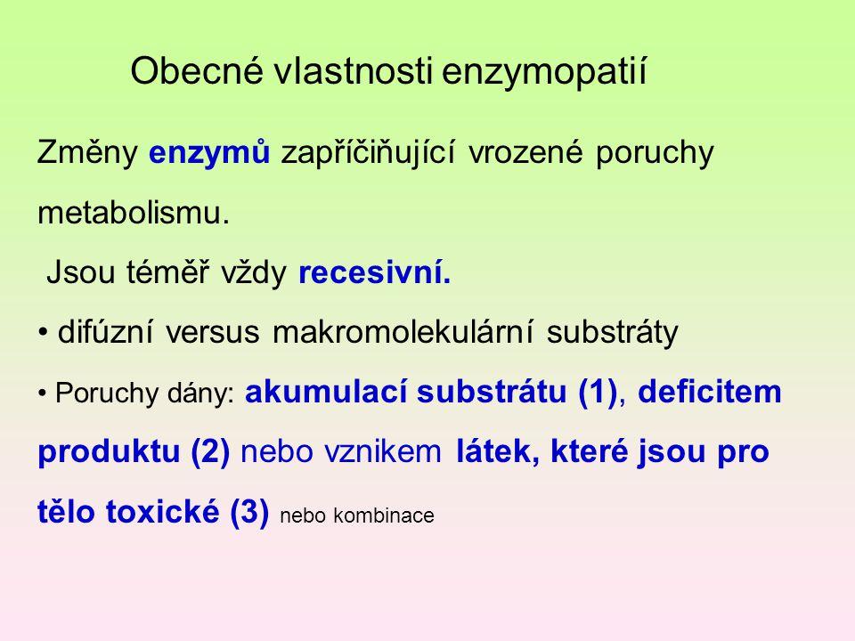 Obecné vlastnosti enzymopatií