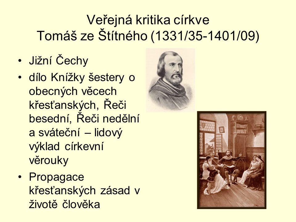 Veřejná kritika církve Tomáš ze Štítného (1331/35-1401/09)