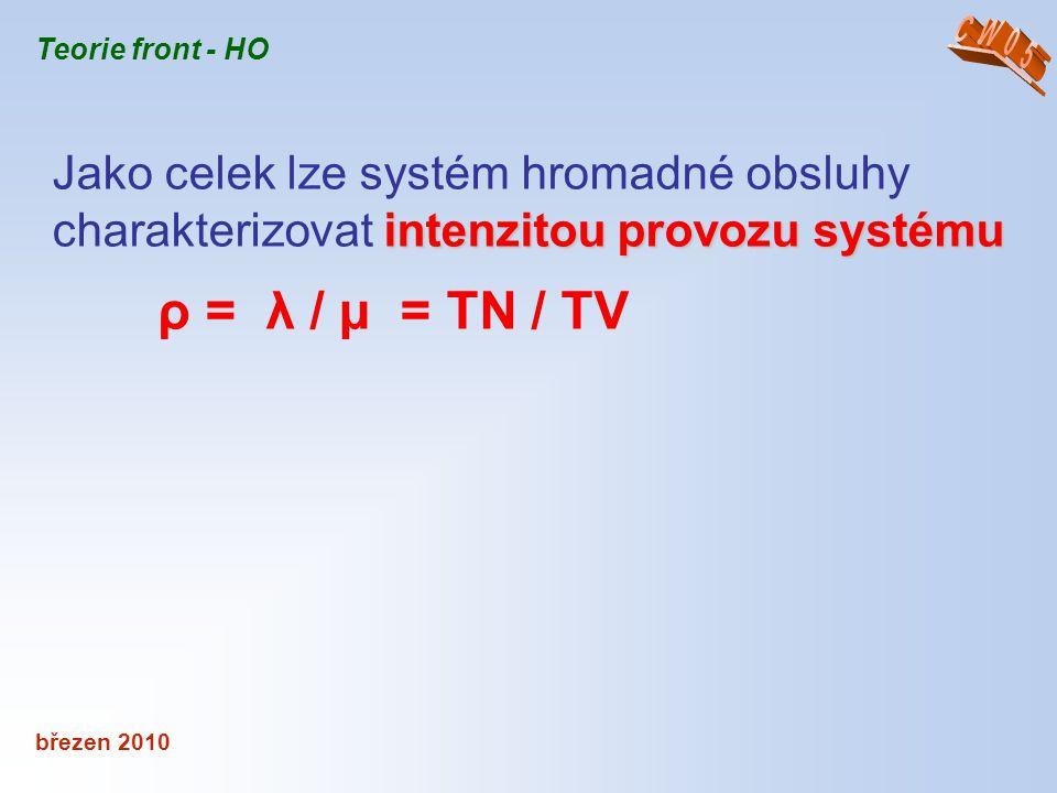 CW05 Teorie front - HO. Jako celek lze systém hromadné obsluhy charakterizovat intenzitou provozu systému.