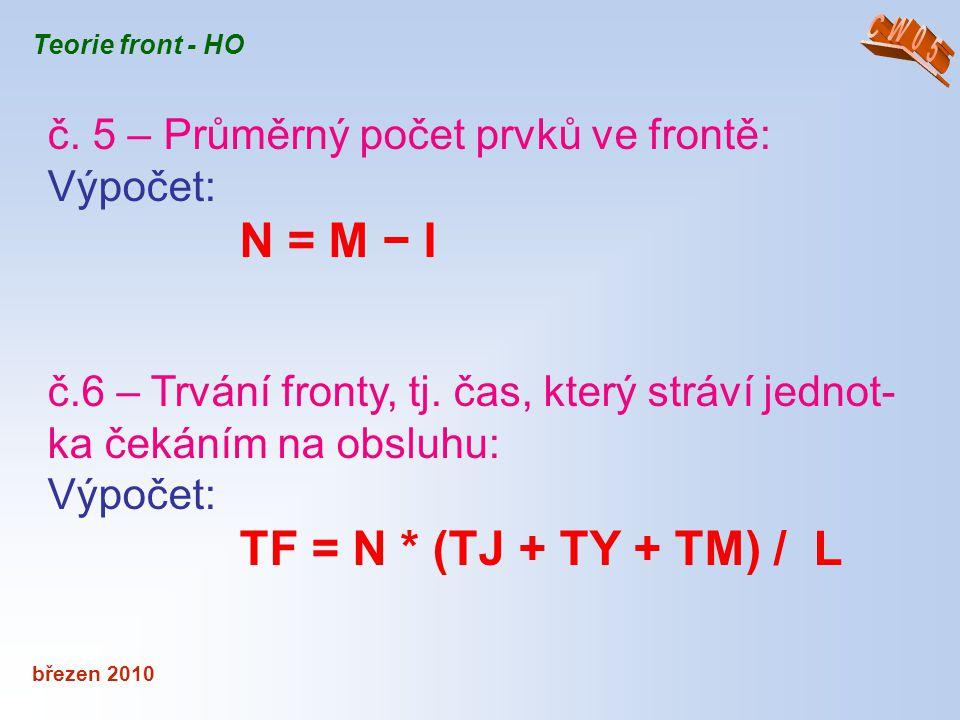 č. 5 – Průměrný počet prvků ve frontě: Výpočet: N = M − I