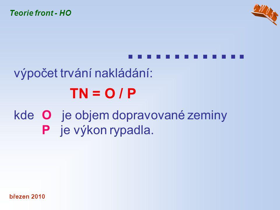 …………. výpočet trvání nakládání: TN = O / P