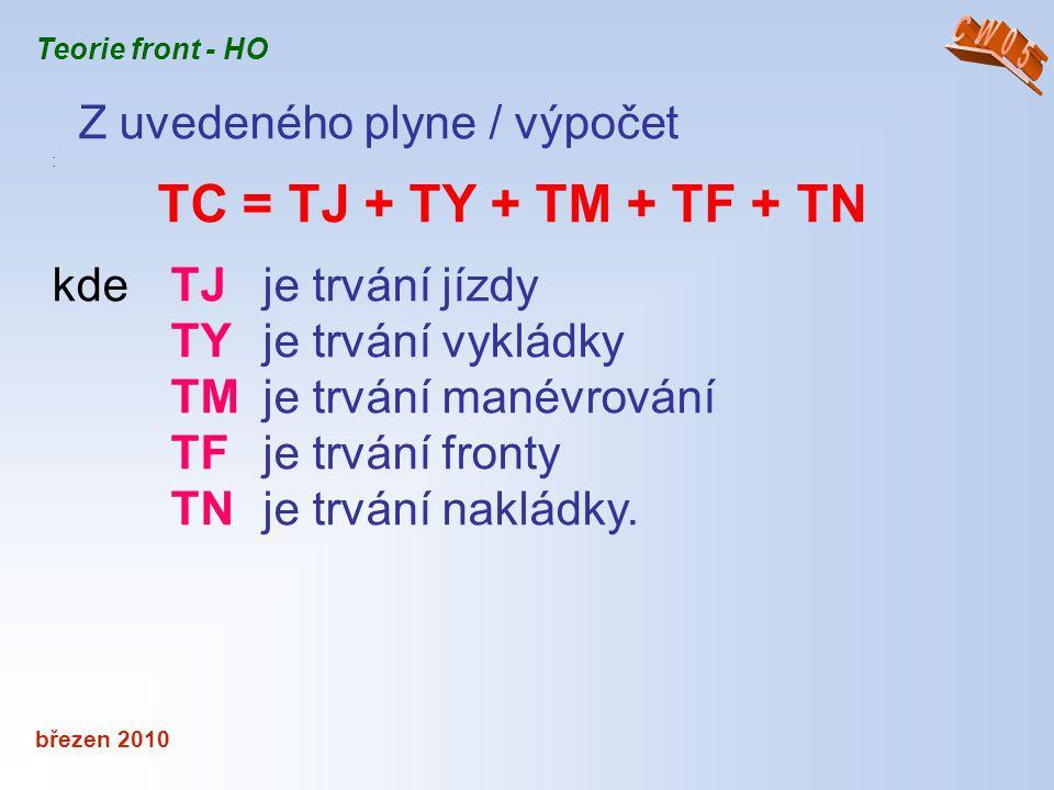 Z uvedeného plyne / výpočet TC = TJ + TY + TM + TF + TN