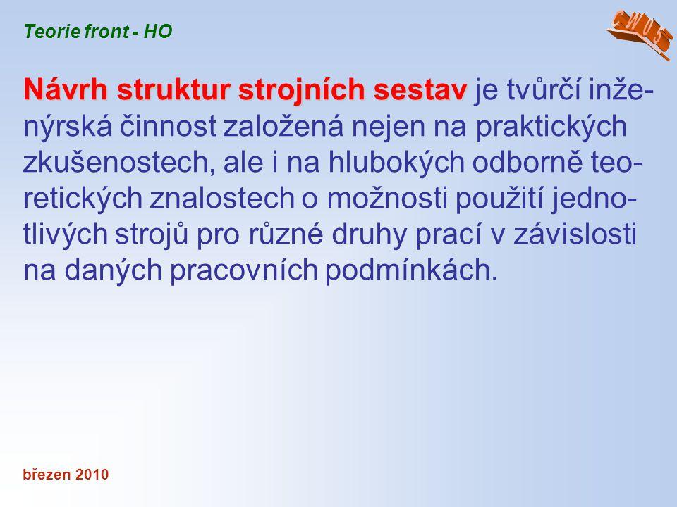 CW05 Teorie front - HO. Návrh struktur strojních sestav je tvůrčí inže-nýrská činnost založená nejen na praktických.