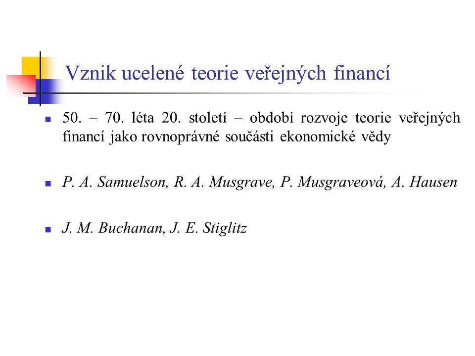 Vznik ucelené teorie veřejných financí