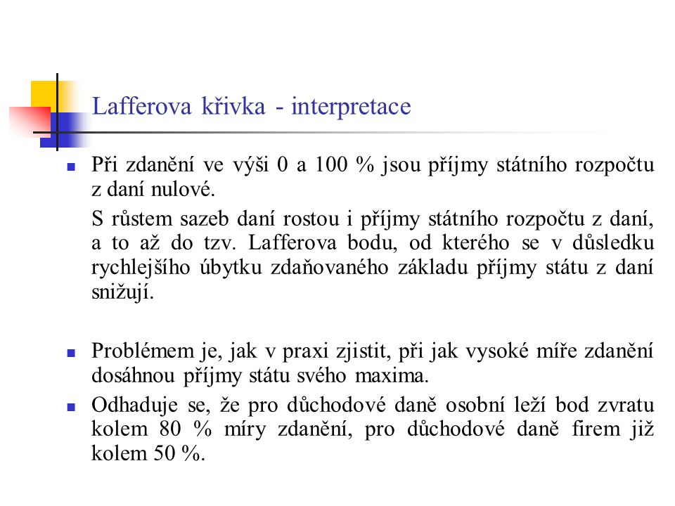 Lafferova křivka - interpretace
