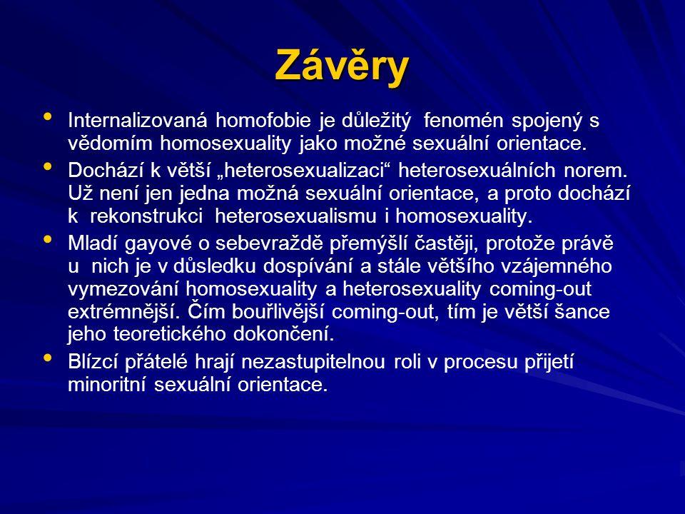 Závěry Internalizovaná homofobie je důležitý fenomén spojený s vědomím homosexuality jako možné sexuální orientace.