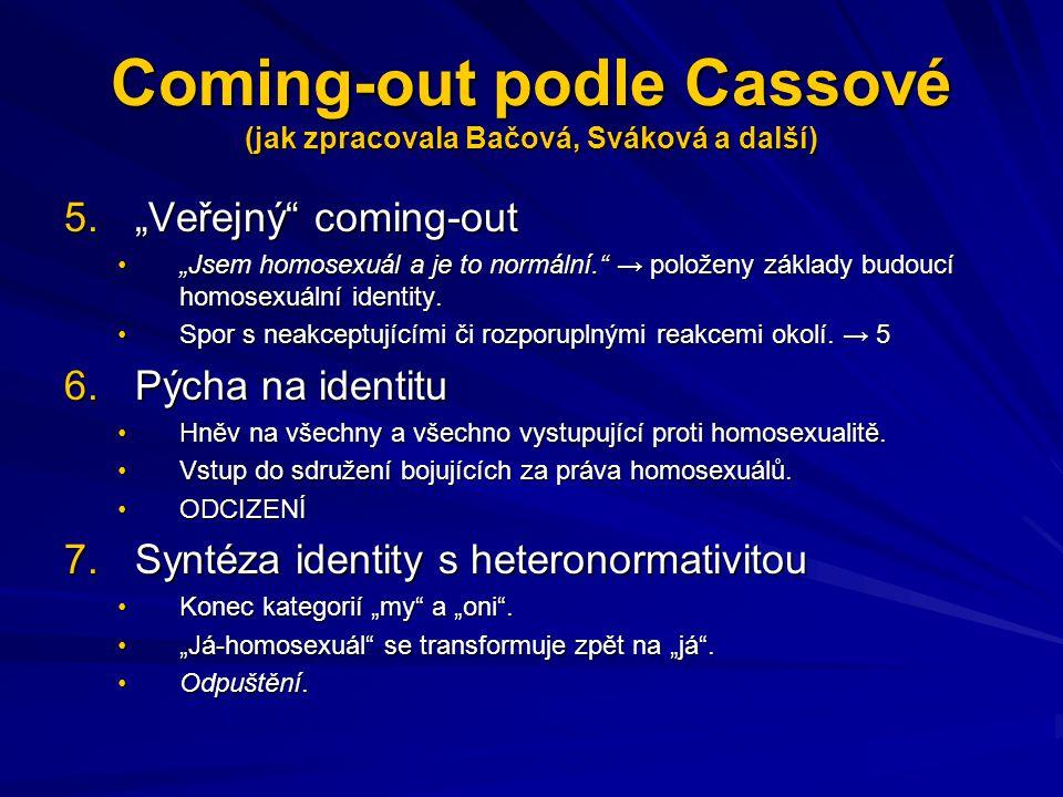 Coming-out podle Cassové (jak zpracovala Bačová, Sváková a další)