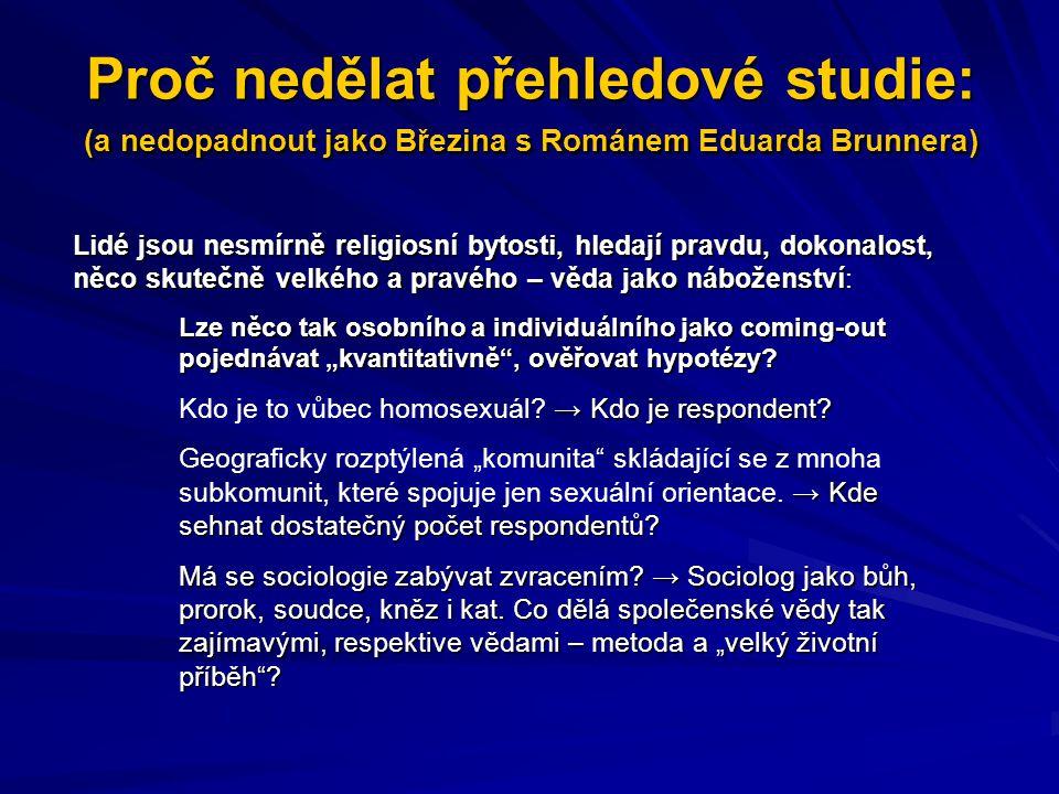 Proč nedělat přehledové studie: (a nedopadnout jako Březina s Románem Eduarda Brunnera)