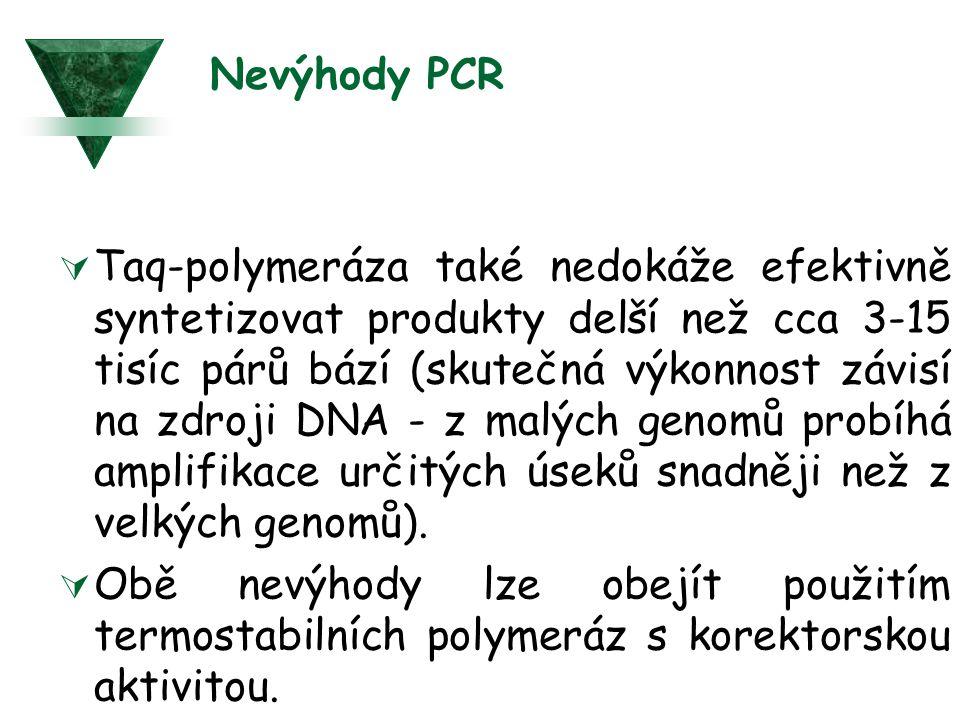 Nevýhody PCR