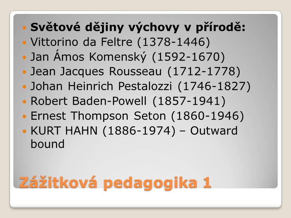 Zážitková pedagogika 1 Světové dějiny výchovy v přírodě: