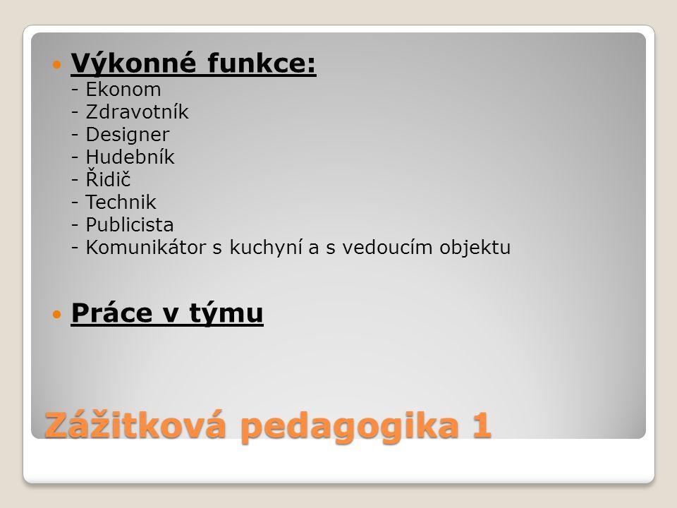 Výkonné funkce: - Ekonom - Zdravotník - Designer - Hudebník - Řidič - Technik - Publicista - Komunikátor s kuchyní a s vedoucím objektu