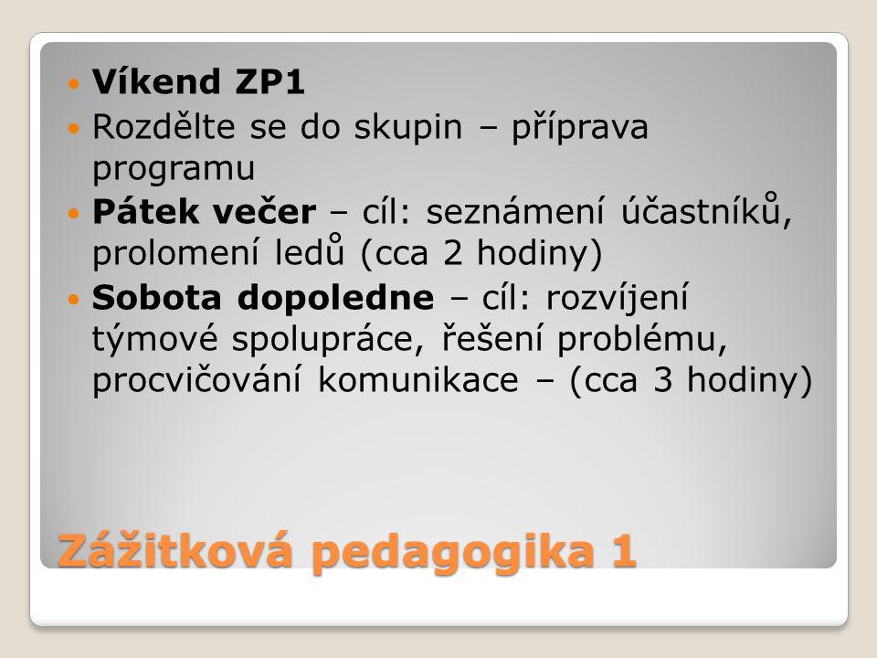Zážitková pedagogika 1 Víkend ZP1
