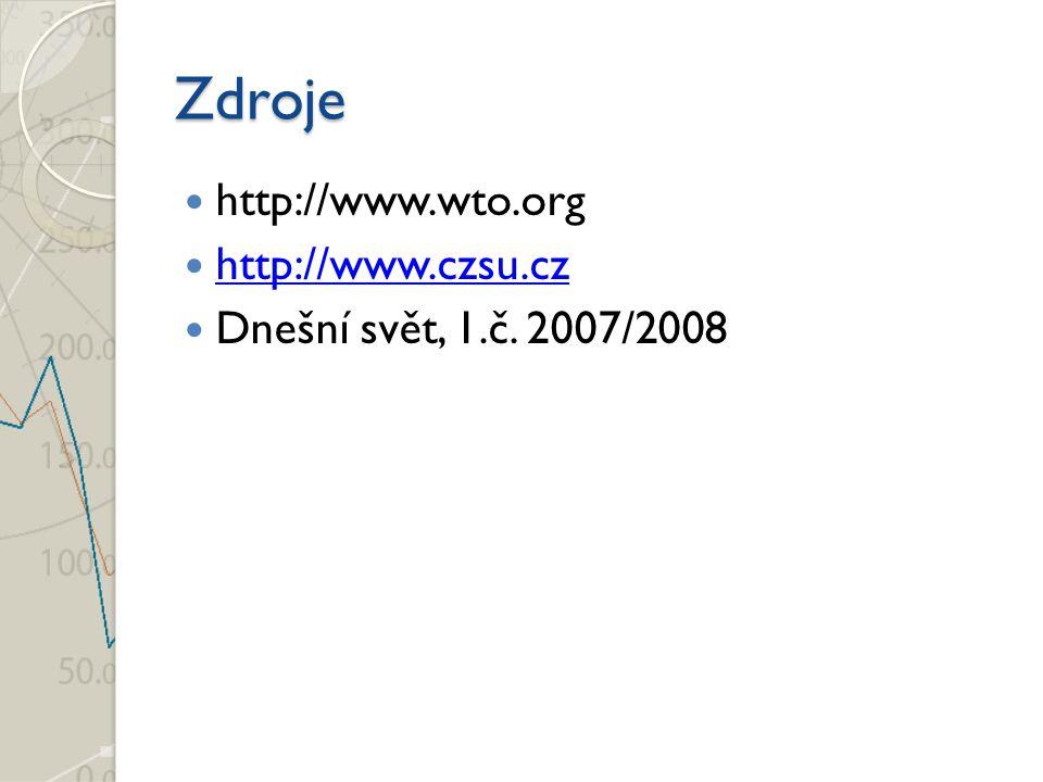 Zdroje http://www.wto.org http://www.czsu.cz