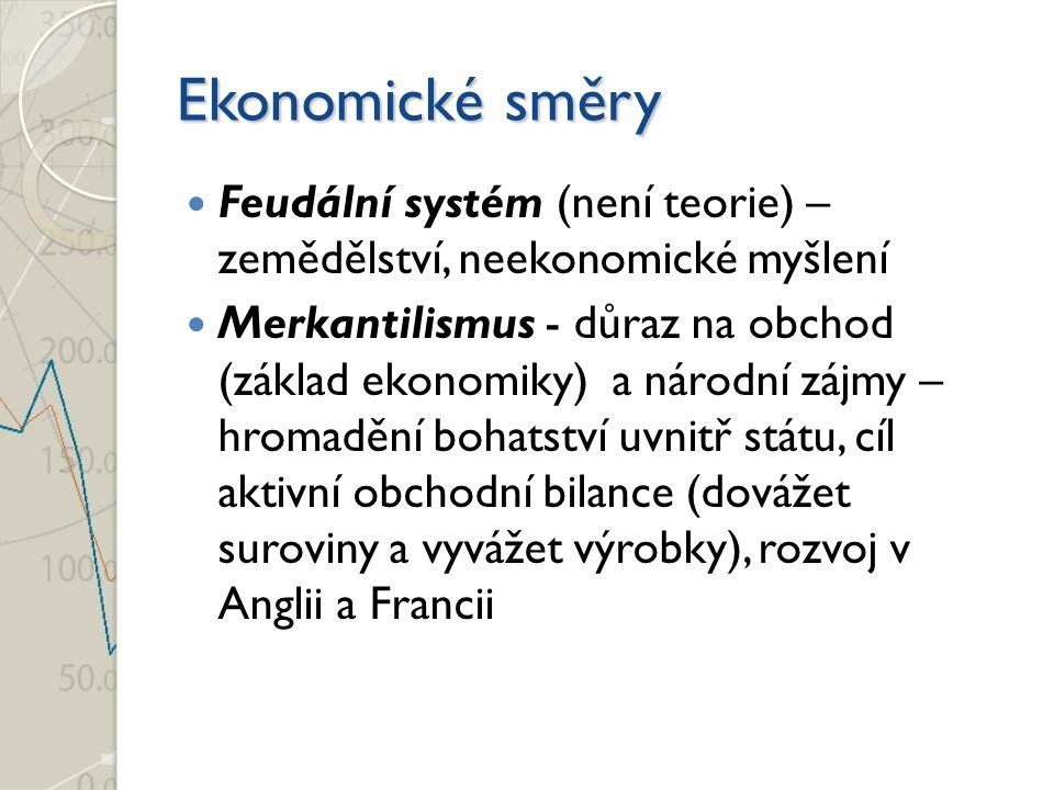 Ekonomické směry Feudální systém (není teorie) – zemědělství, neekonomické myšlení.