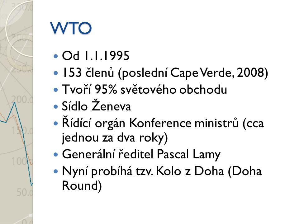 WTO Od 1.1.1995 153 členů (poslední Cape Verde, 2008)