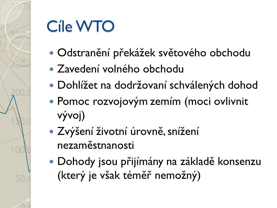 Cíle WTO Odstranění překážek světového obchodu