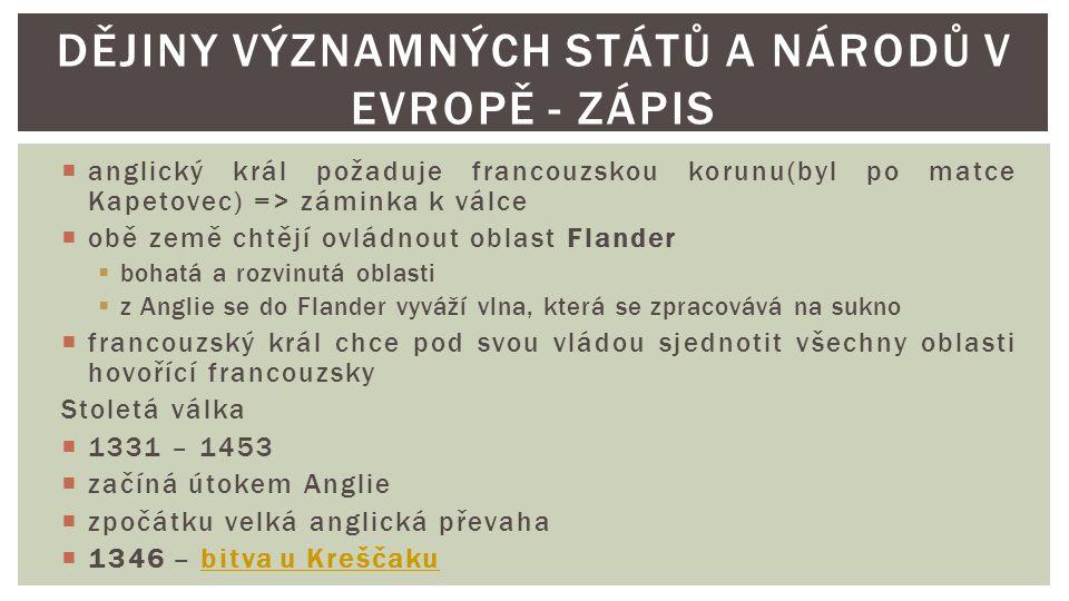 Dějiny významných států a národů v Evropě - zápis