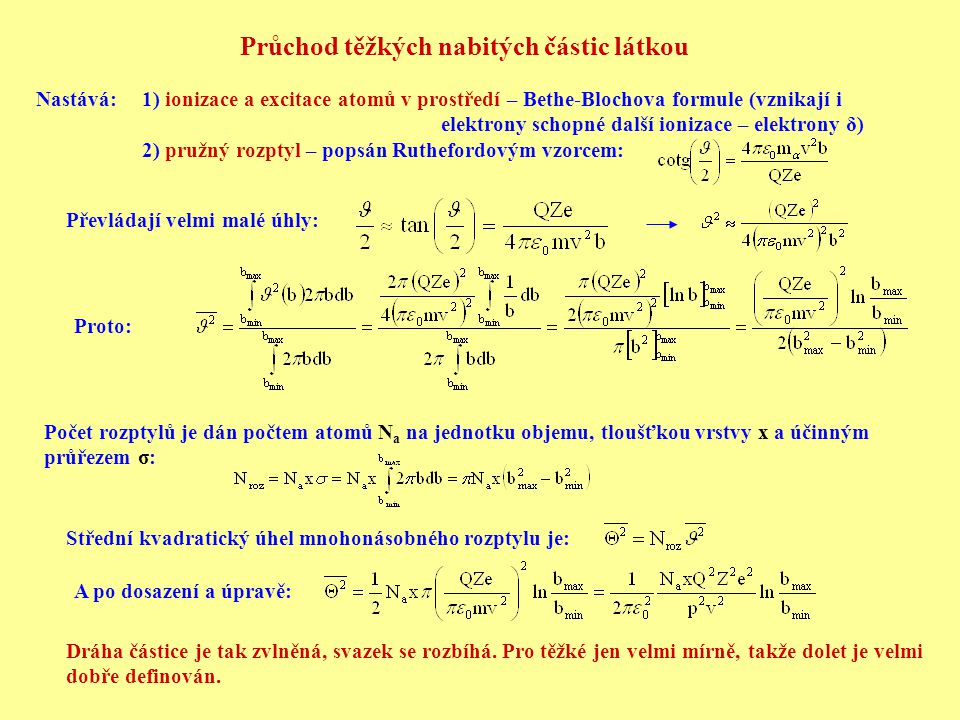 Průchod těžkých nabitých částic látkou