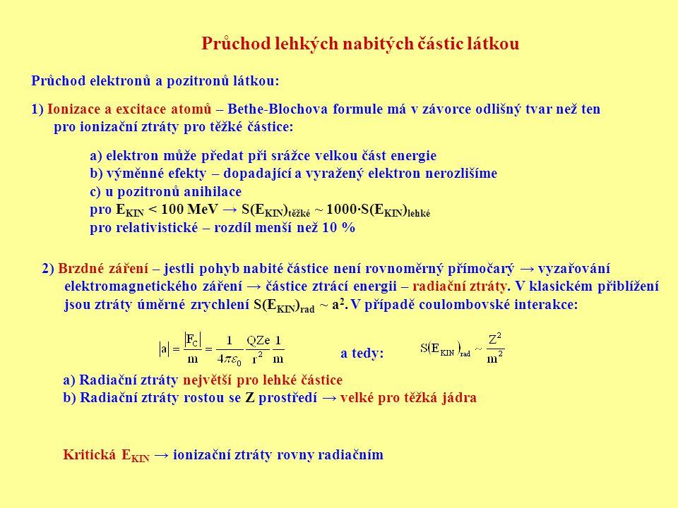 Průchod lehkých nabitých částic látkou