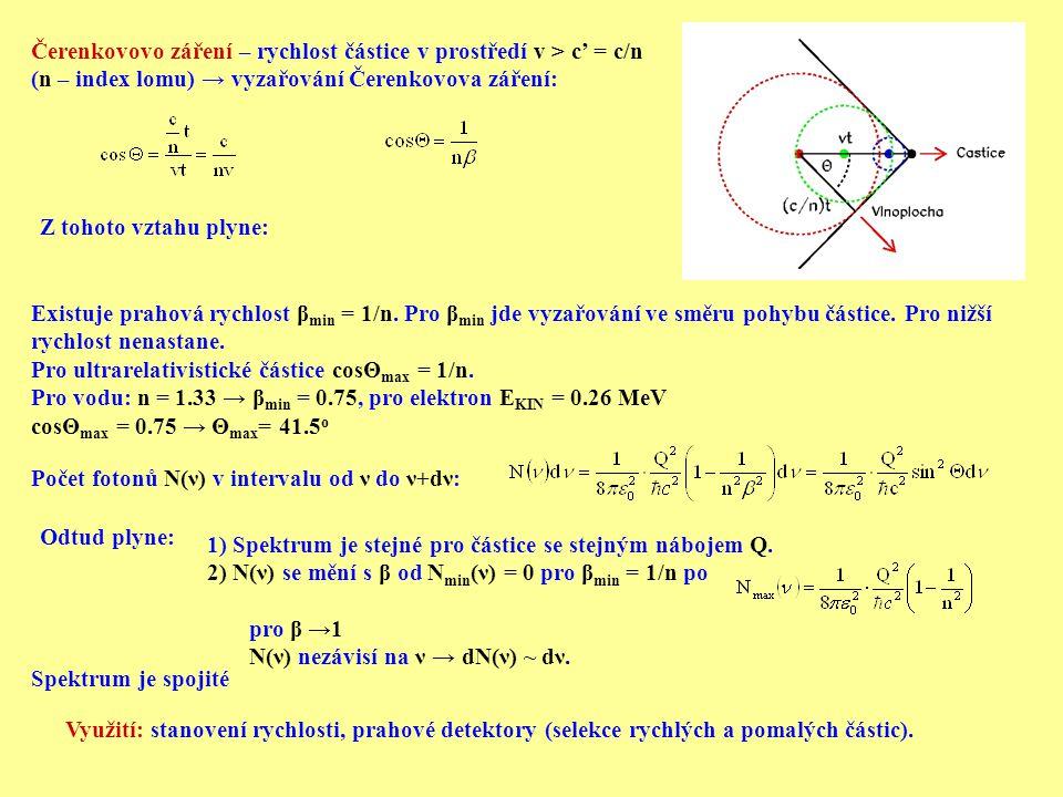 Čerenkovovo záření – rychlost částice v prostředí v > c' = c/n