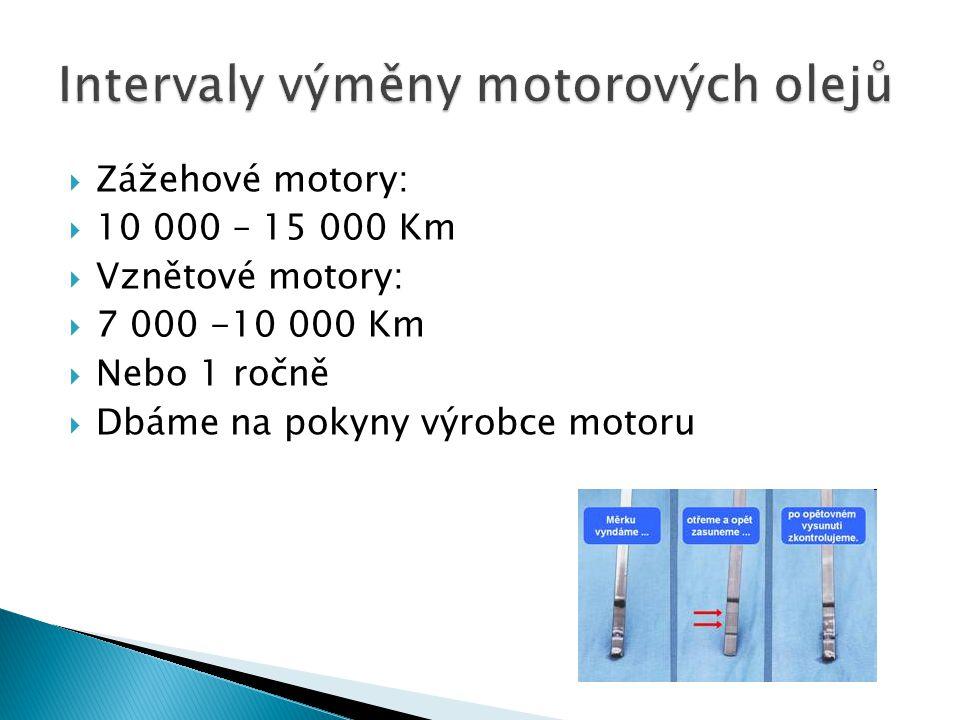 Intervaly výměny motorových olejů