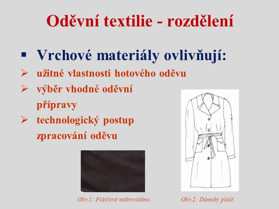 Oděvní textilie - rozdělení
