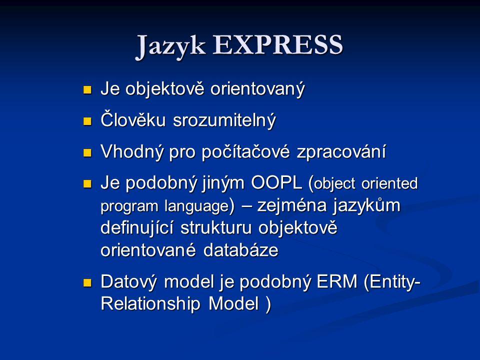 Jazyk EXPRESS Je objektově orientovaný Člověku srozumitelný