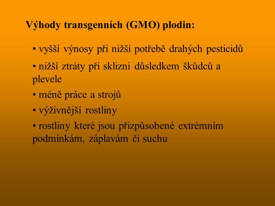 Výhody transgenních (GMO) plodin:
