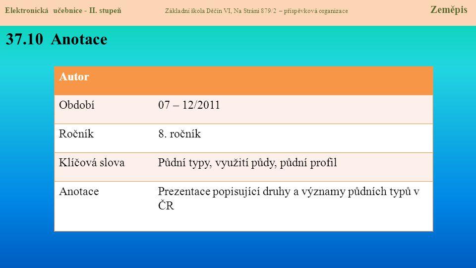 37.10 Anotace Autor Období 07 – 12/2011 Ročník 8. ročník Klíčová slova