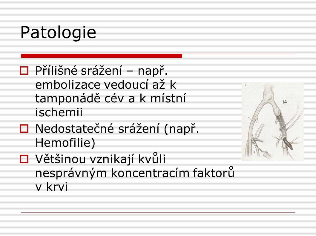 Patologie Přílišné srážení – např. embolizace vedoucí až k tamponádě cév a k místní ischemii. Nedostatečné srážení (např. Hemofilie)