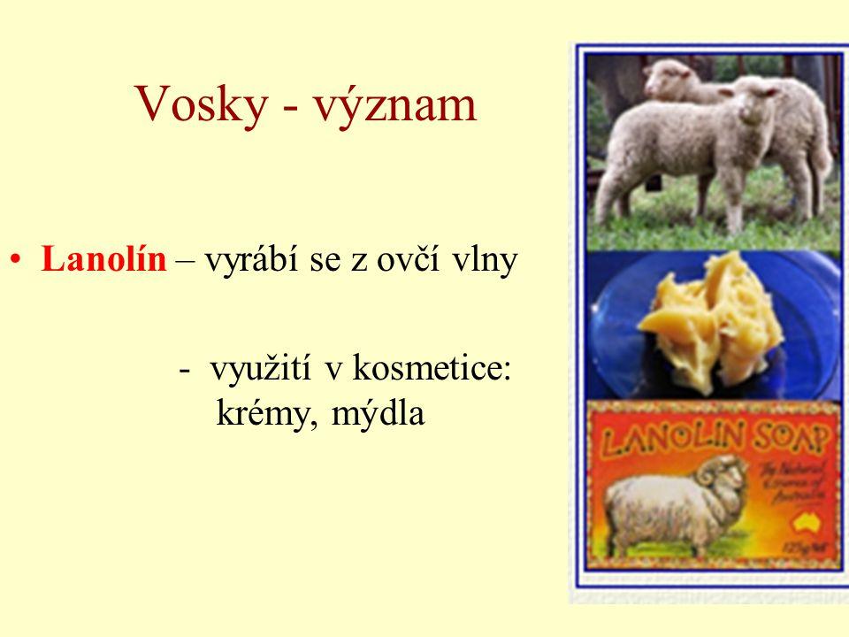 Vosky - význam Lanolín – vyrábí se z ovčí vlny
