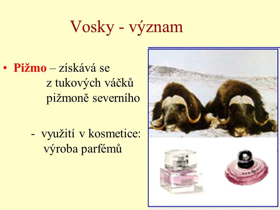 Vosky - význam Pižmo – získává se z tukových váčků pižmoně severního