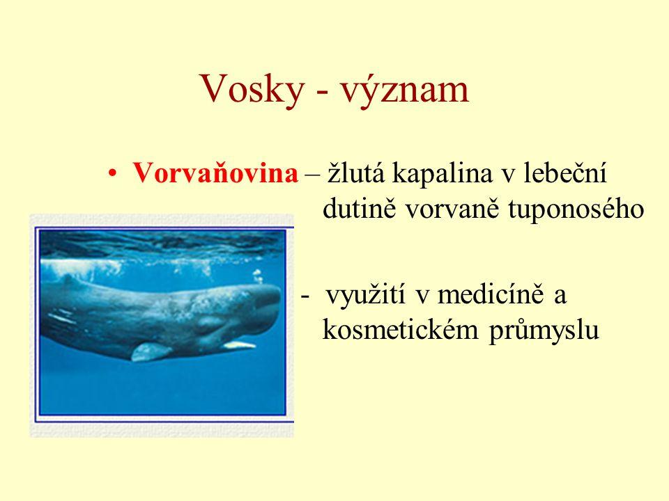 Vosky - význam Vorvaňovina – žlutá kapalina v lebeční dutině vorvaně tuponosého. - využití v medicíně a kosmetickém průmyslu.