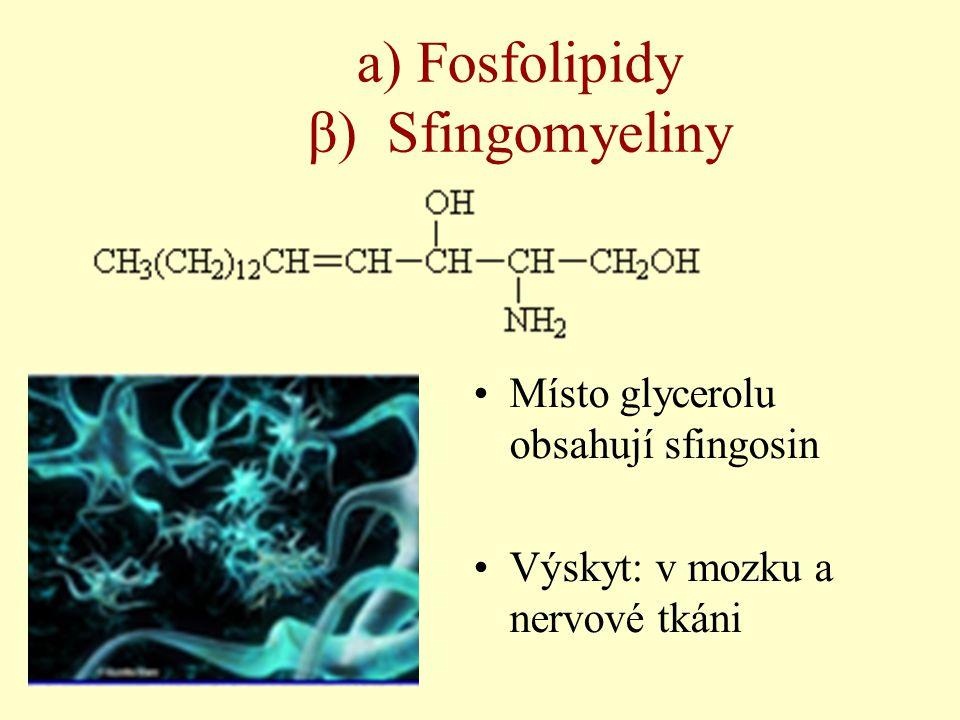 a) Fosfolipidy β) Sfingomyeliny