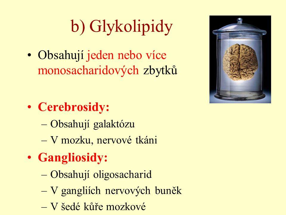 b) Glykolipidy Obsahují jeden nebo více monosacharidových zbytků